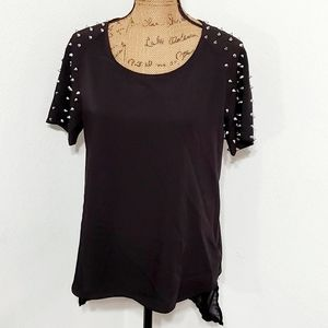 Necessary Clothing•black top•silver spikes•large